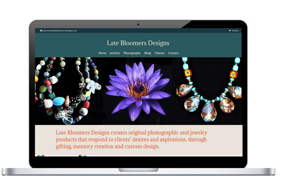 Late Bloomers Designs Website and Online Store